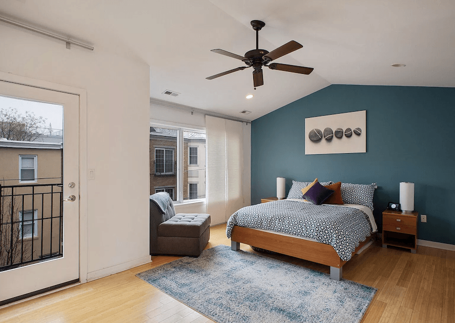 house for sale francisville contemporary row house master bedroom
