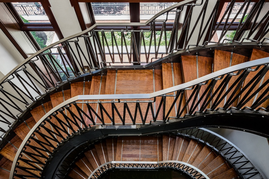 house for sale society hill moderne mansion grand staircase from above