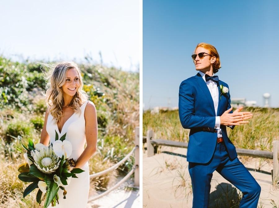 Shore wedding bride and groom