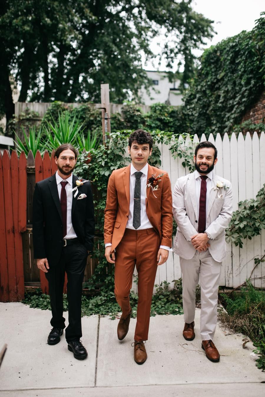Hipster groom and groomsmen