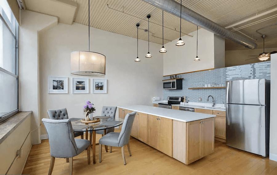 condo for sale logan square loft dining area and kitchen