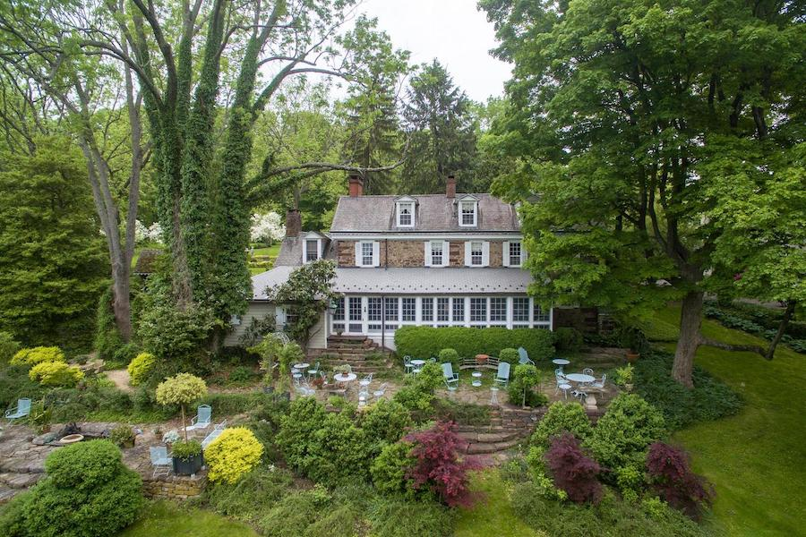 house for sale wrightstown hortulus farm main house rear elevation and backyard