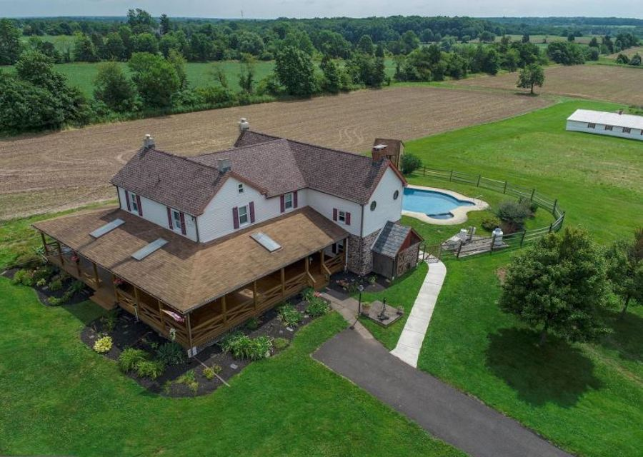 house for sale perkasie holland hill farm aerial view of farmhouse