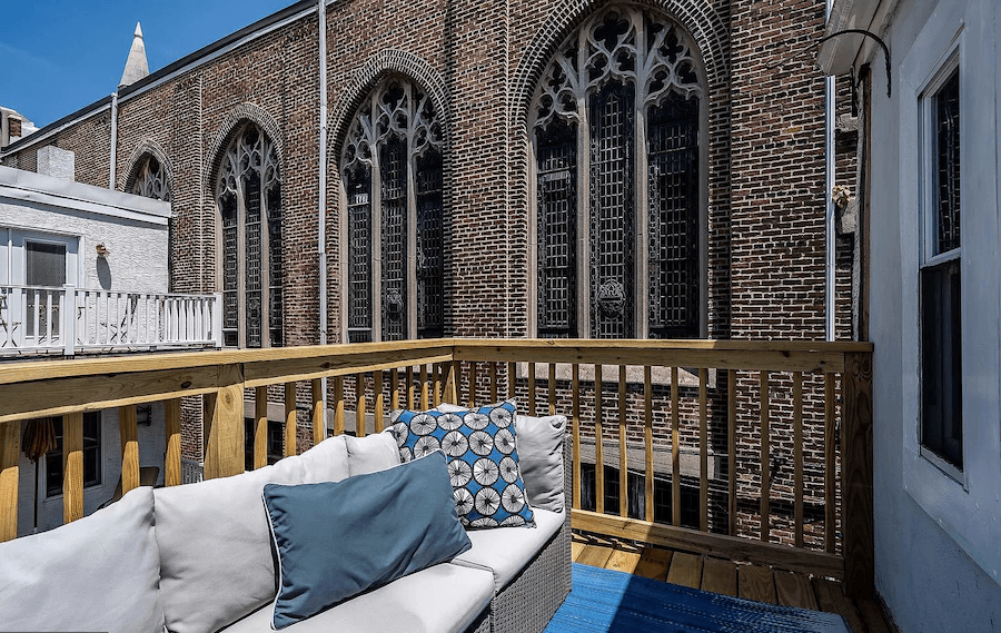 house for sale rittenhouse contemporary townhouse master bedroom deck