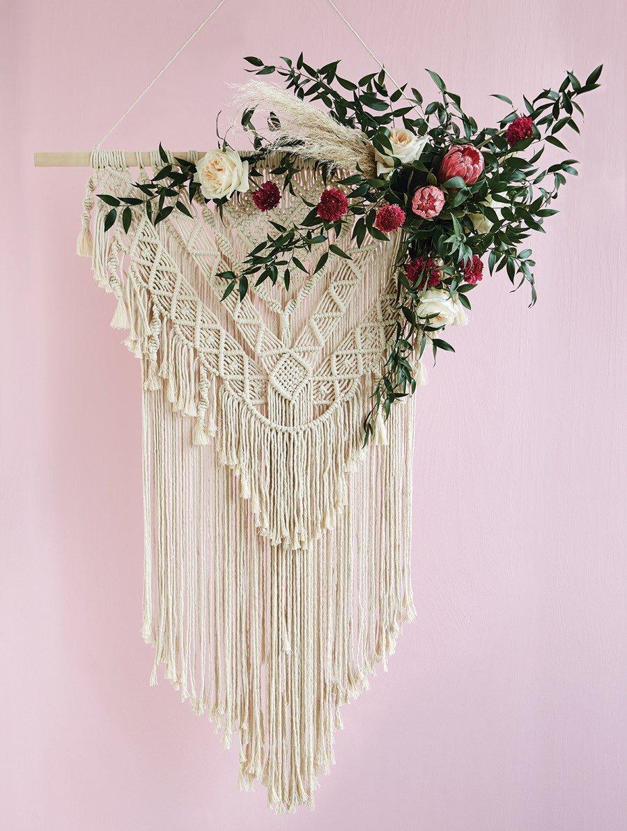 boho macrame wedding ceremony hanging