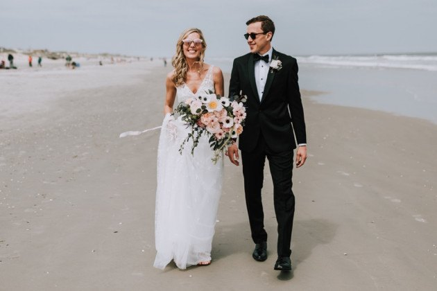 new jersey shore beach wedding portrait