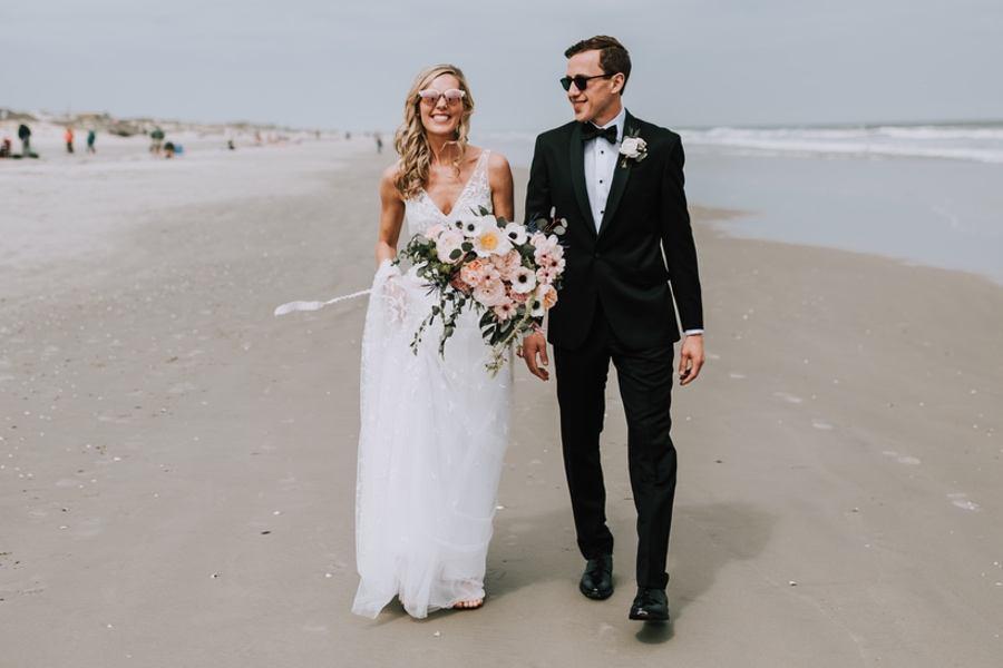 new jersey shore beach wedding portrait