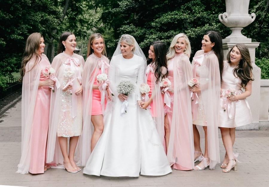 pink bridesmaids capes