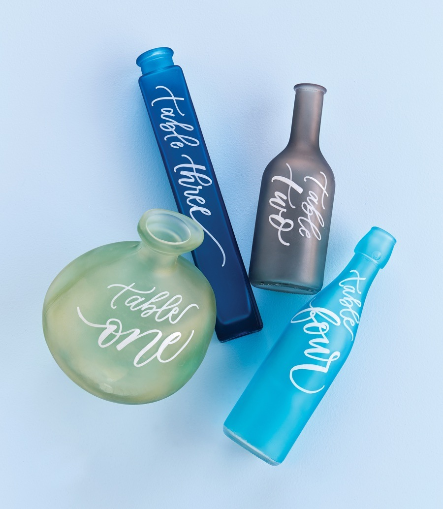 sea glass bottle table numbers
