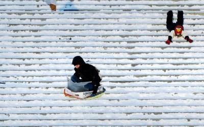 sledding art museum steps snow day