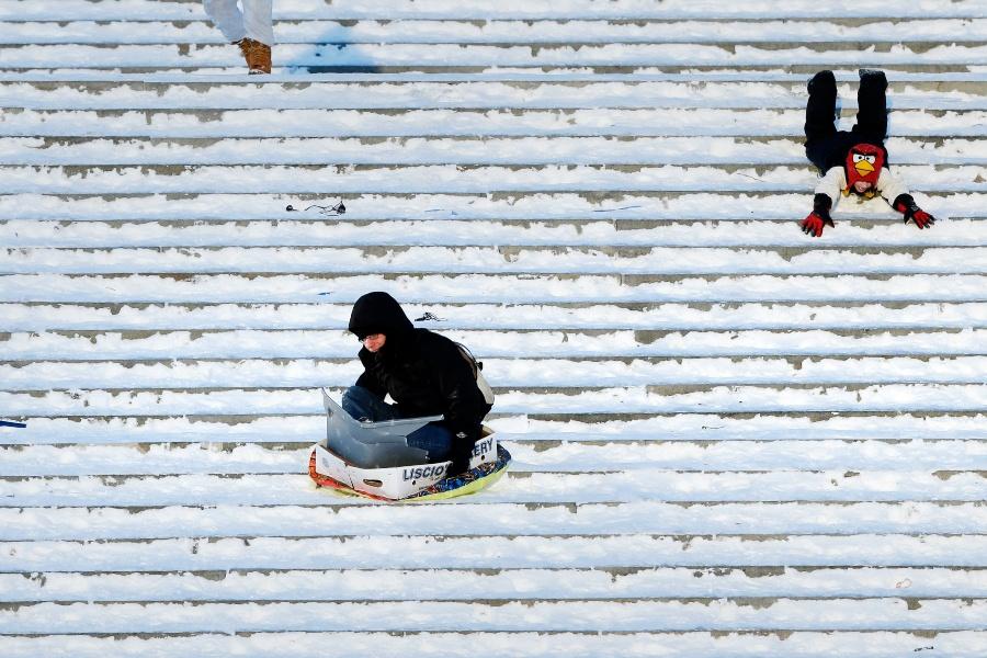 sledding art museum steps snow days