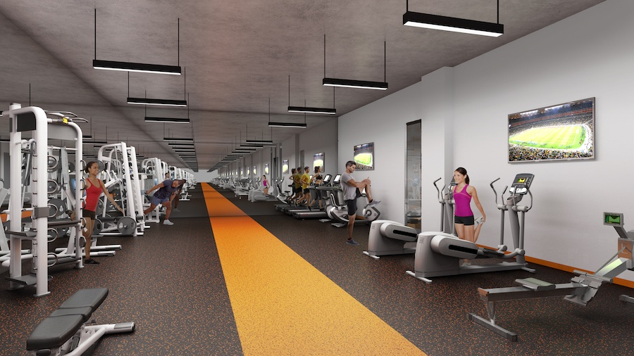 the civic apartment profile fitness center rendering