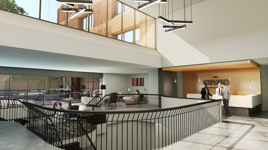 the civic apartment profile lobby rendering