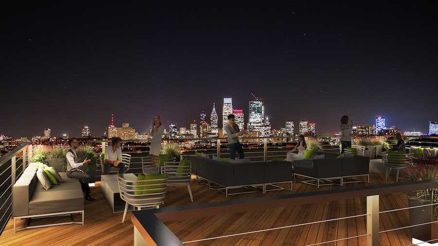 the civic apartment profile roof deck rendering
