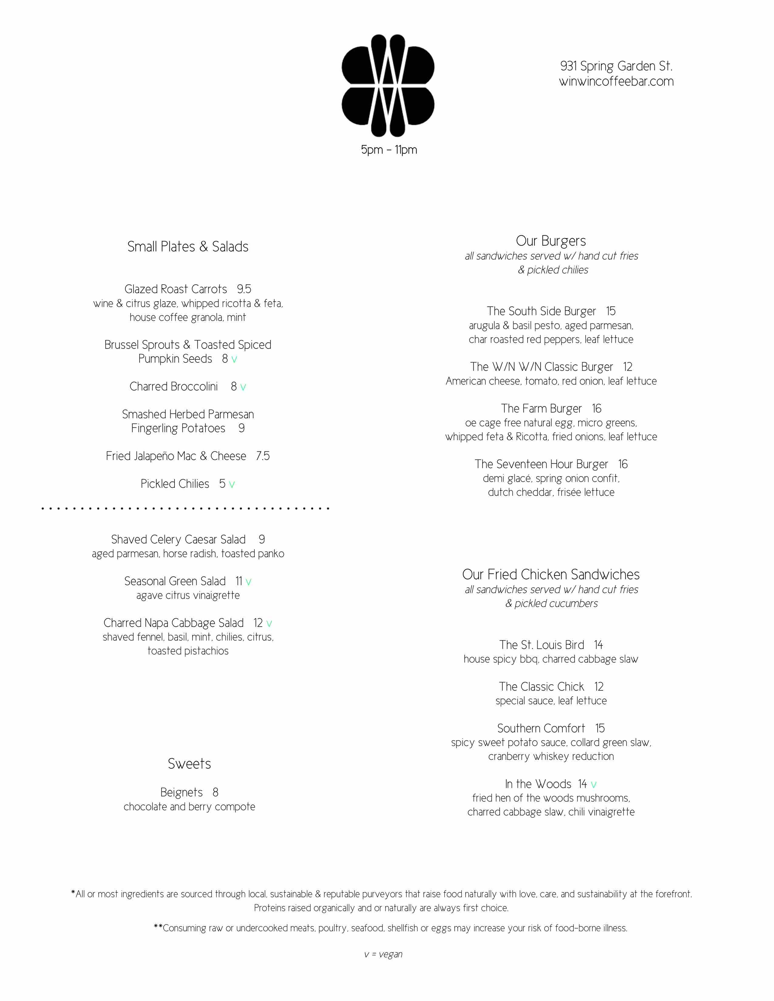 win win dinner menu philadelphia