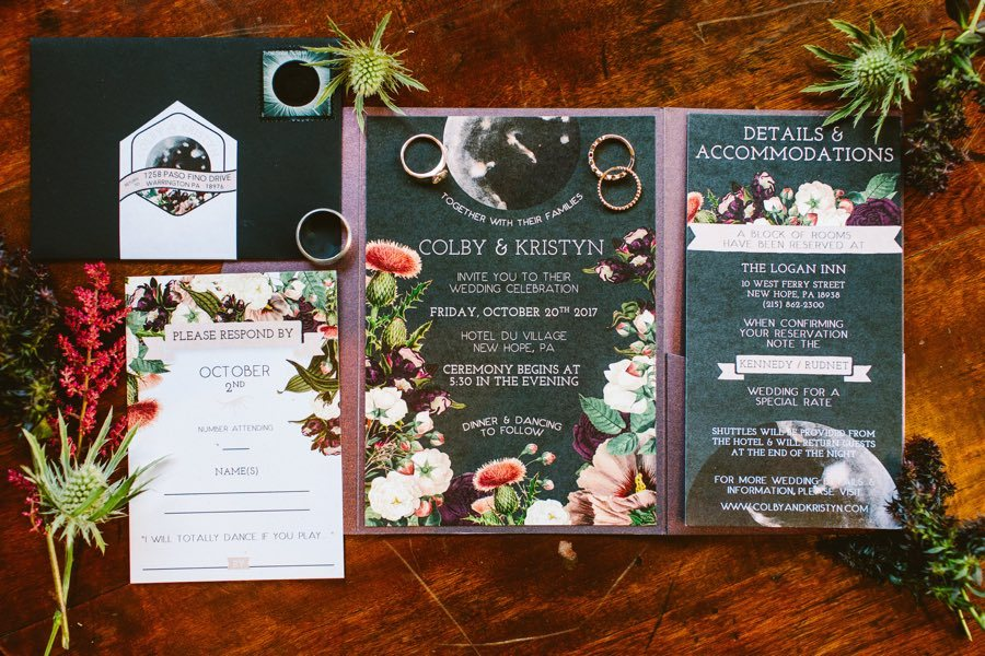 Astrology themed wedding invitations