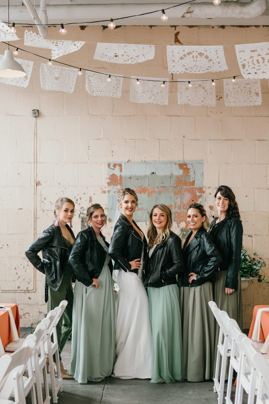 Bride and bridesmaids leather jackets
