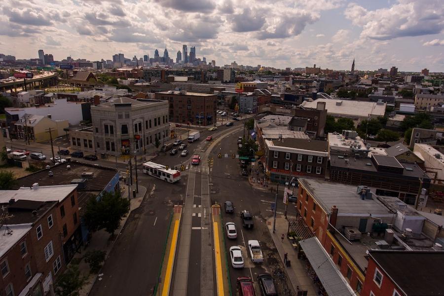 fishtown neighborhood guide aerial view of skyline from girard avenue