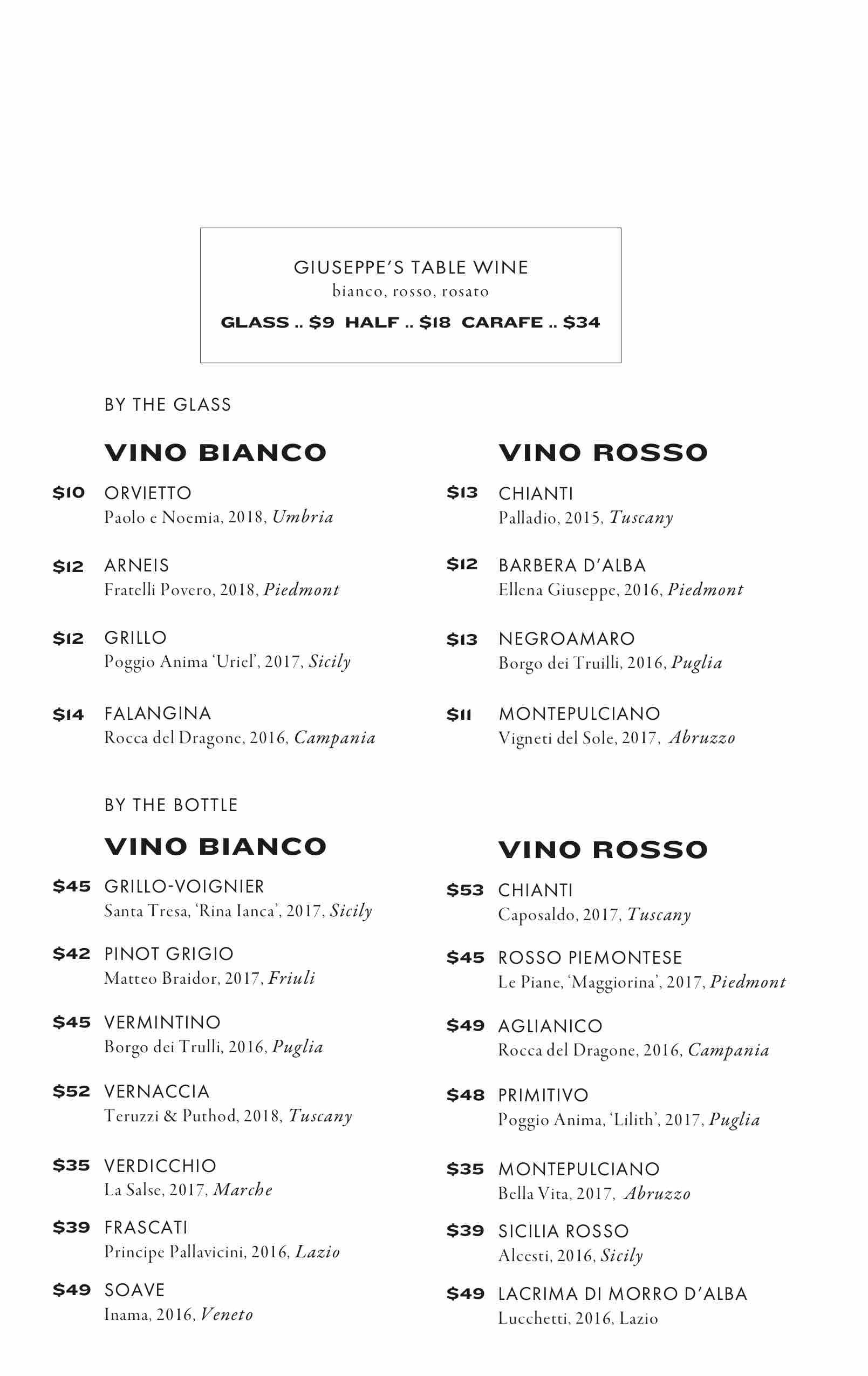 giuseppe sons cocktail menu philadelphia