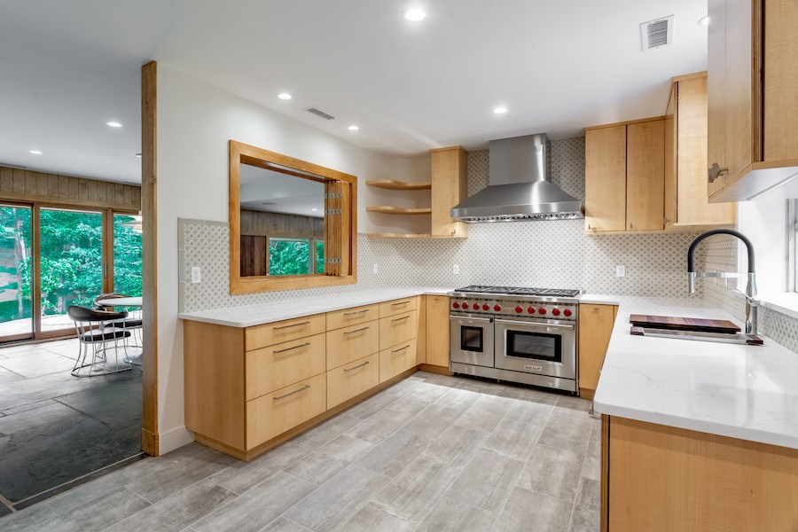 house for sale carversville midcentury modern house kitchen