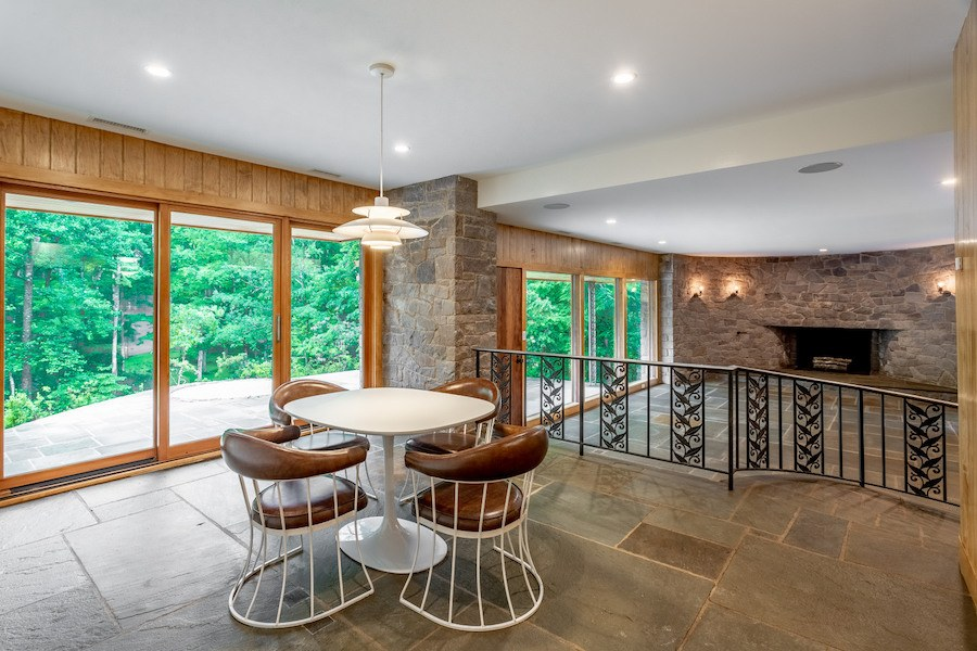 house for sale carversville midcentury modern house dining and living rooms