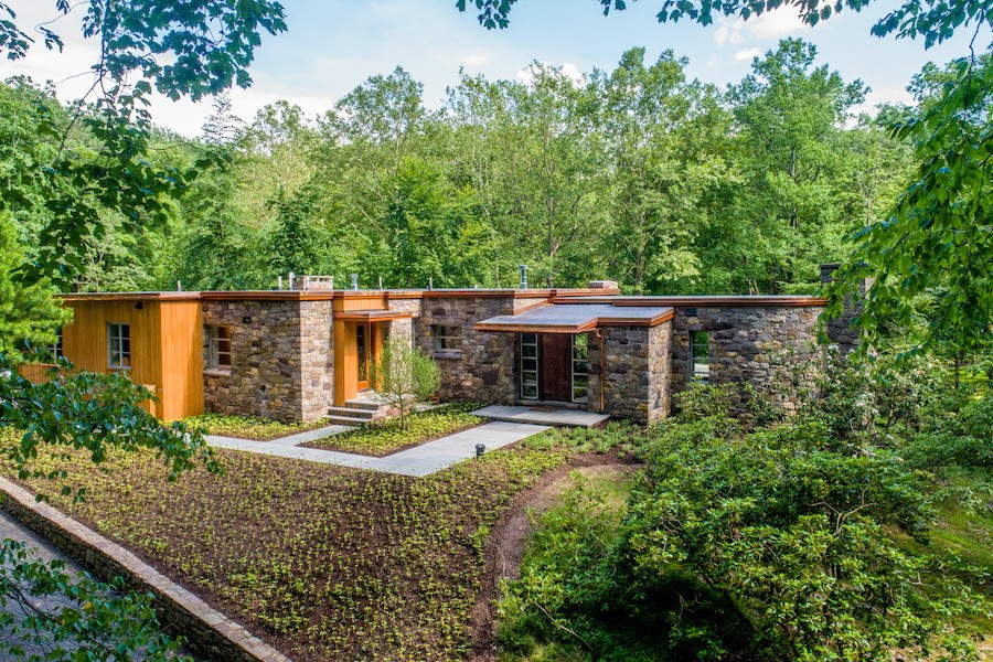 house for sale carversville midcentury modern house exterior front