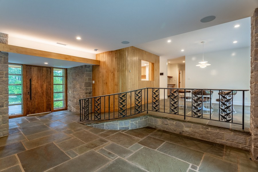 house for sale carversville midcentury modern house foyer and dining room