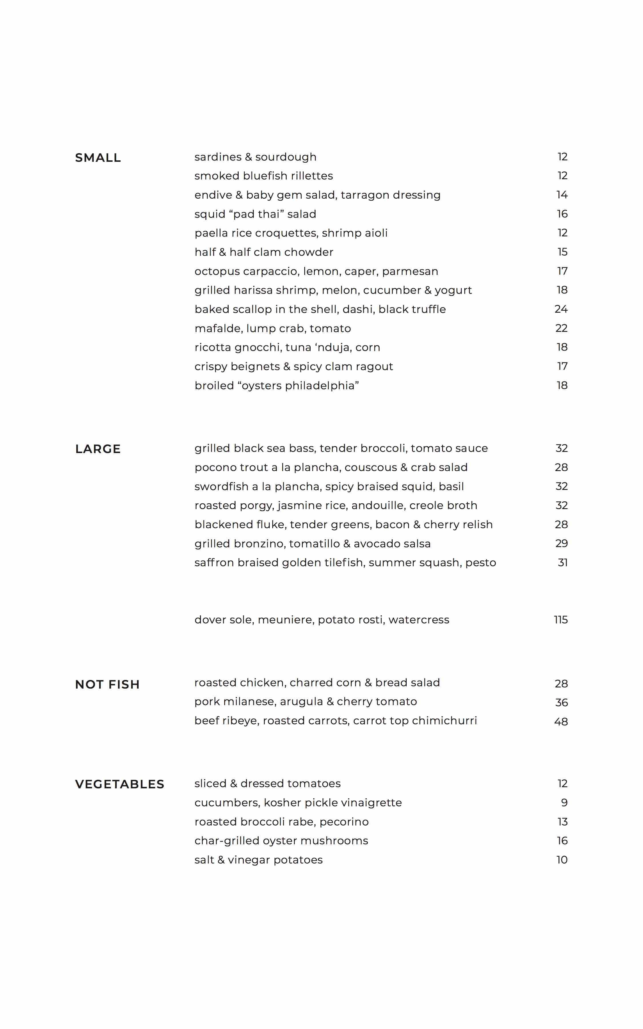 vernick fish menu