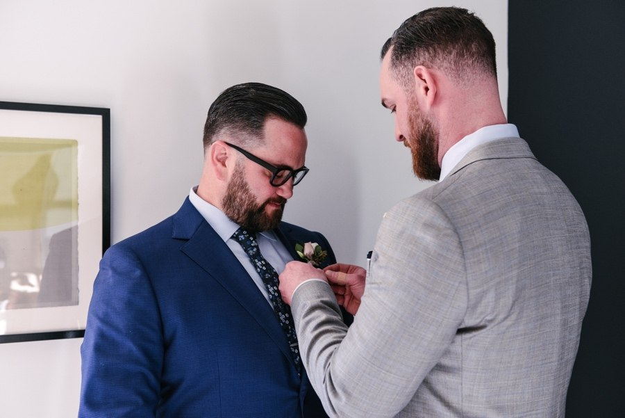 Grooms getting ready