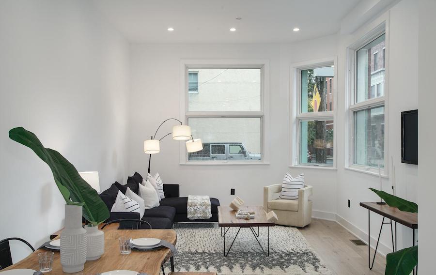 house for sale fairmount rehab living room