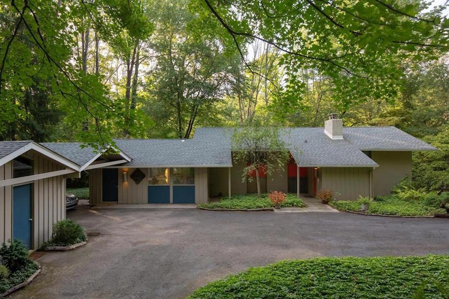 house for sale barren hill midcentury modern exterior front