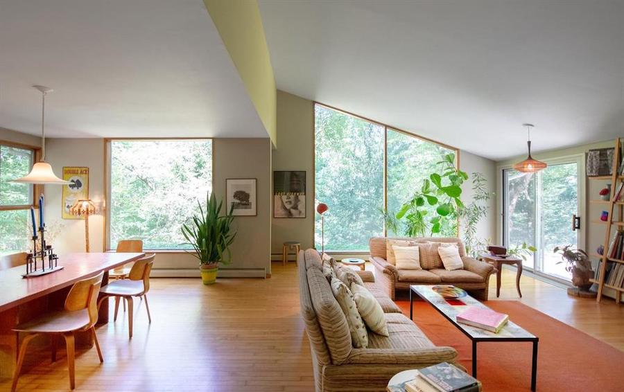 house for sale barren hill midcentury modern living and dining rooms
