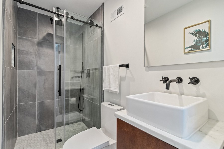 house for sale fishtown rehabbed rowhouse first-floor bathroom