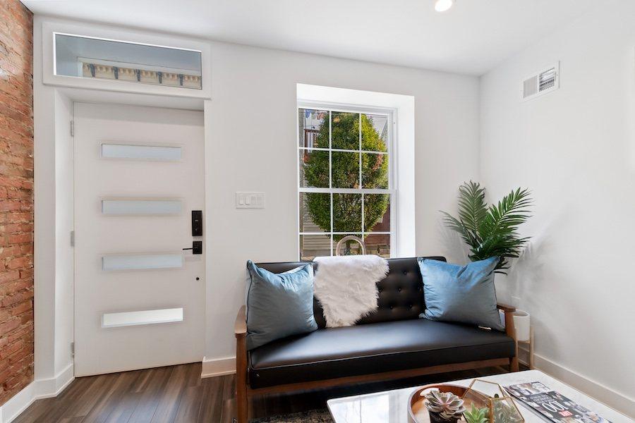 house for sale fishtown rehabbed rowhouse living room