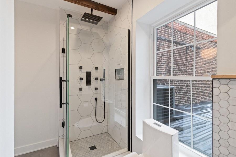 house for sale fishtown rehabbed rowhouse master bathroom shower