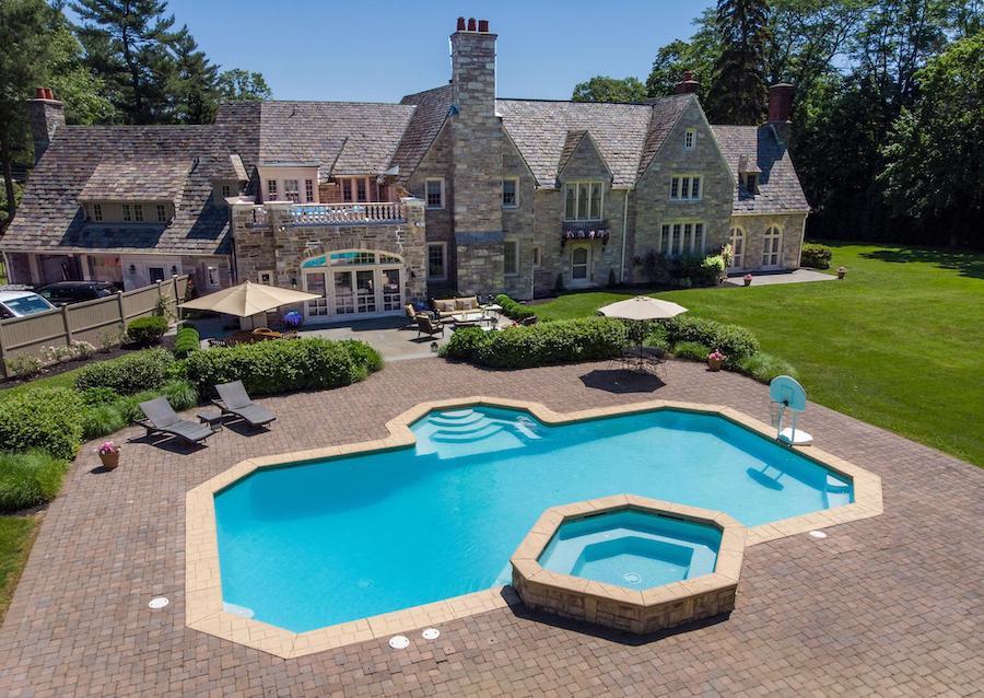 house for sale villanova greystone estate patio-pool-rear elevation