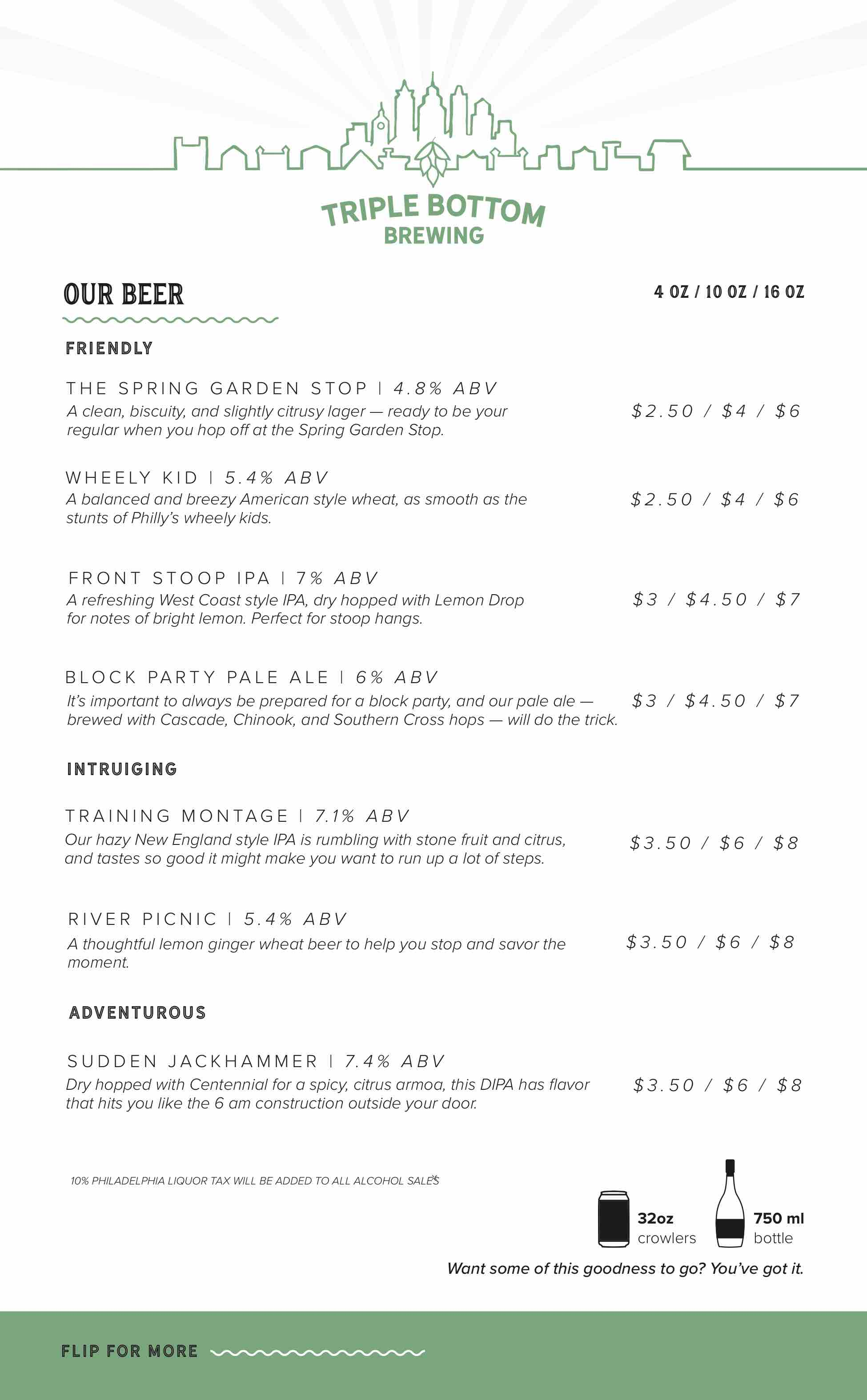 triple bottom brewing beer menu