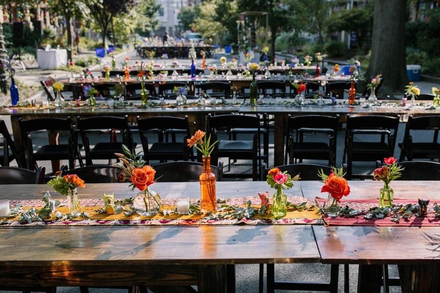 Philadelphia block party wedding reception