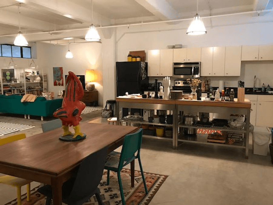 apartment for rent old city live work loft dining area and kitchen