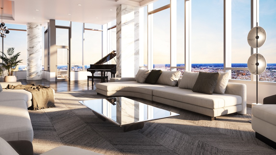 the laurel penthouse living room view