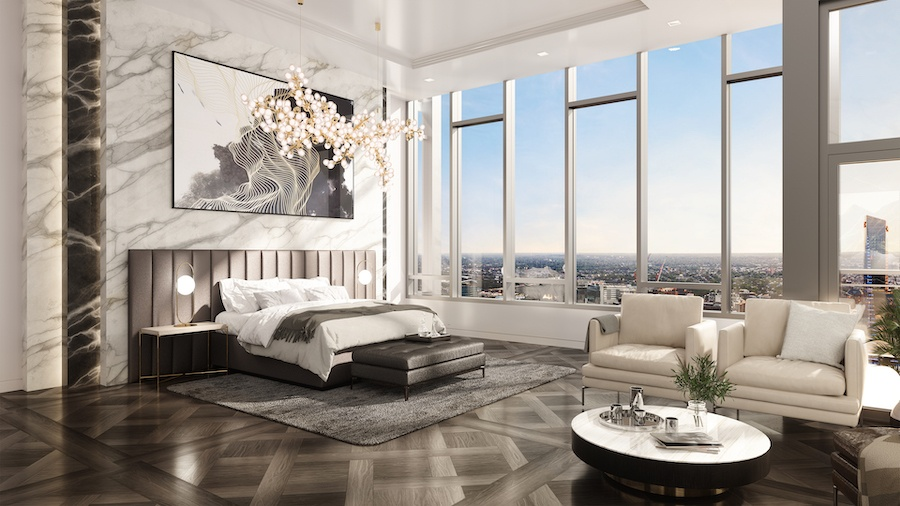 the laurel penthouse master bedroom