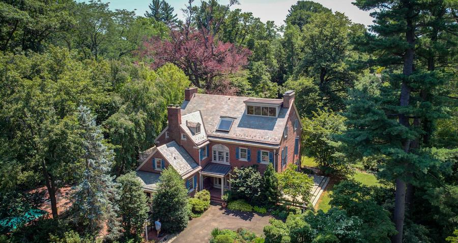 house for sale chestnut hill contemporary colonial rear aerial view