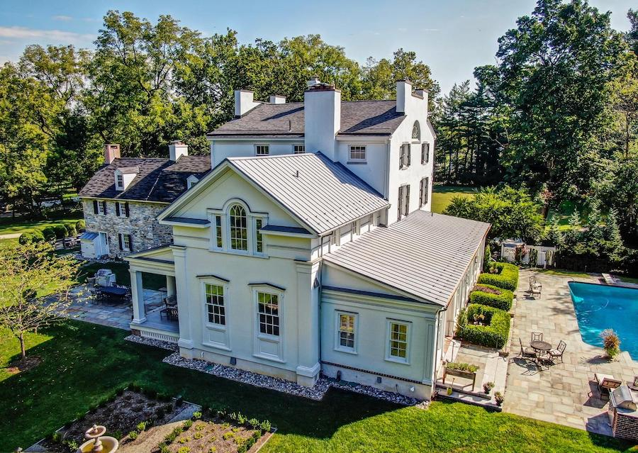 house for sale flourtown willow dam birds eye view of rear