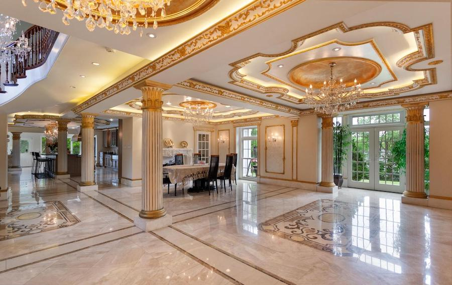 house for sale villanova french baroque manor dining room towards kitchen