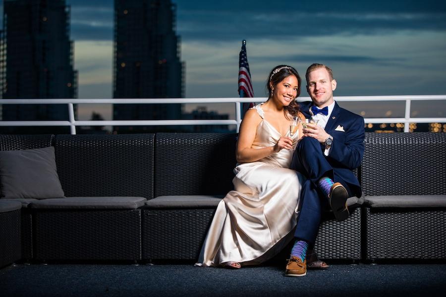 spirit of philadelphia wedding at sunset
