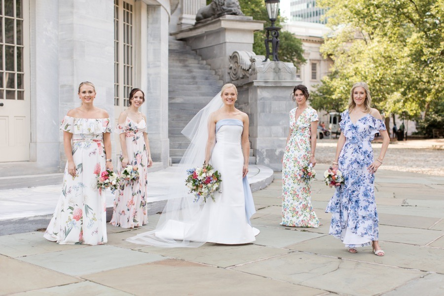 Philadelphia bride and bridesmaids