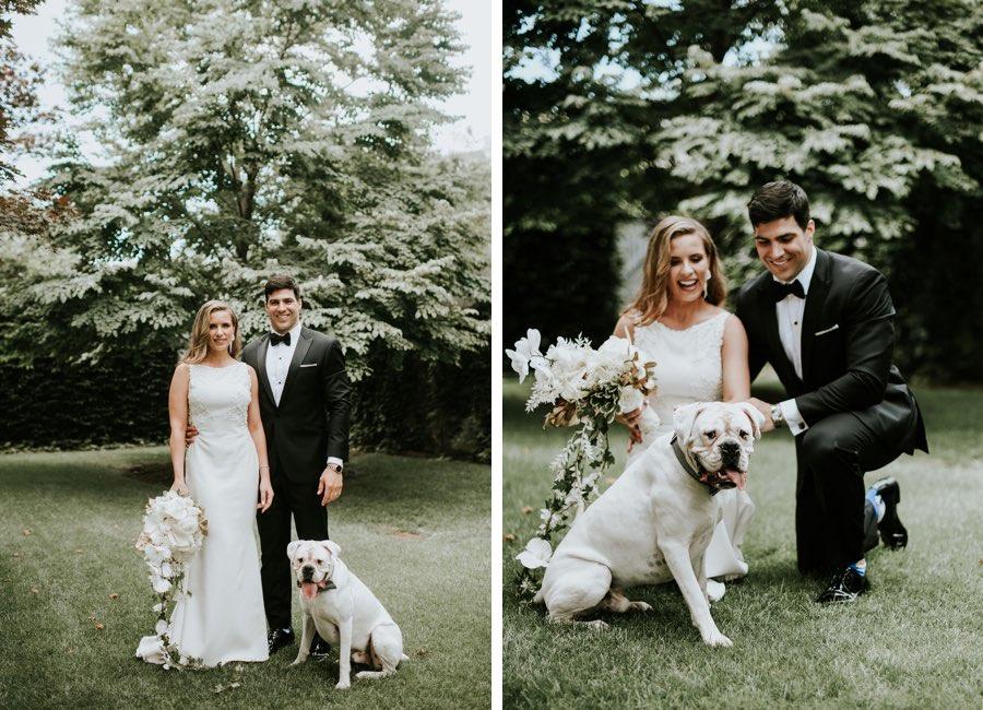 Bride, groom and dog portrait