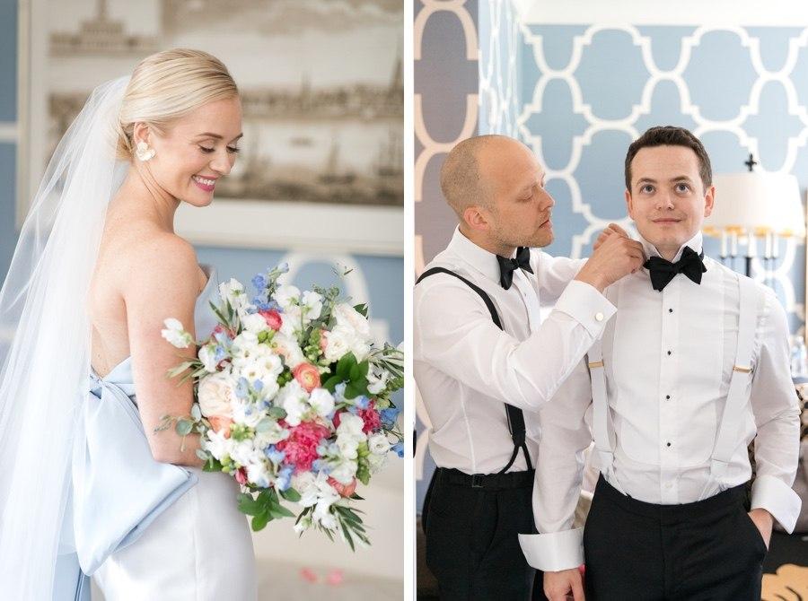 Preppy bride and groom