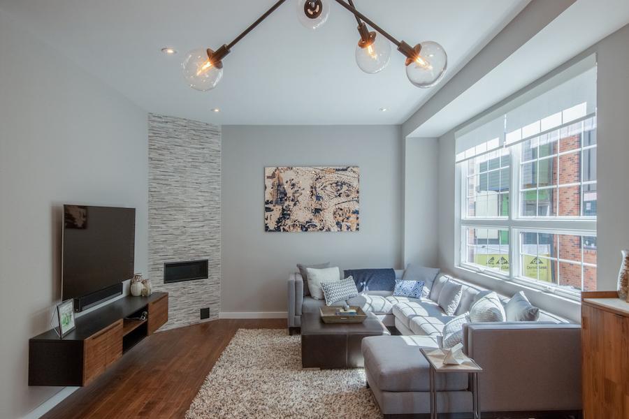 condo for sale fishtown modern industrial condo living room