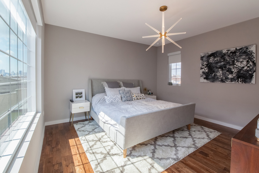 condo for sale fishtown modern industrial condo master bedroom